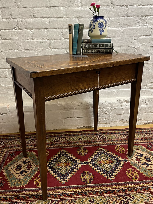 Charming Arts & Crafts Style Oak Inlaid Hinged Lid Side Table