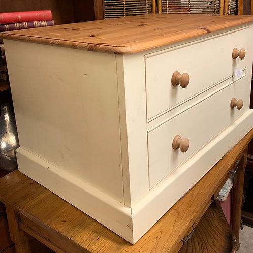 Part Painted Pine Lowboy Chest Of Drawers / TV Chest