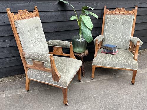 Pair Of Edwardian Oak Frame Parlour Armchairs