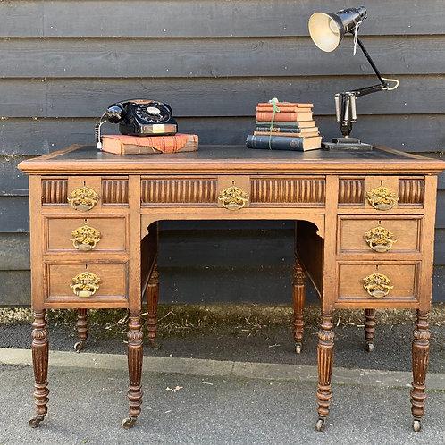 Edwardian Oak Kneehole Writing Desk
