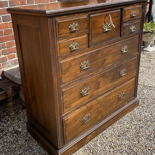 Large Handsome Edwardian Solid Oak Chest Of Drawers
