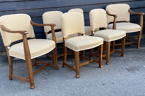 Good Quality Set Of 6 1930's Oak Frame & Upholstered Deco Style Dining Chairs