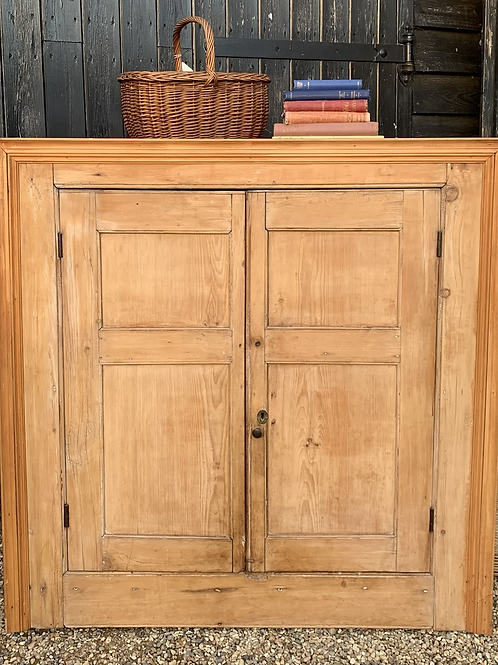 Large Square Fronted Rustic Victorian Pine Hanging Corner Cabinet / Cupboard