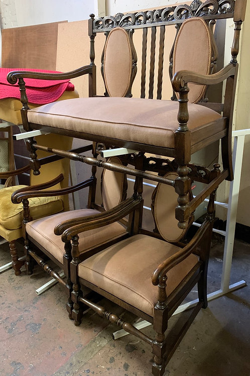 1920's Oak Carved Frame Carolean Style Suite With Settee & Armchairs