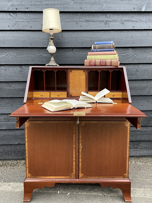 Redman & Hales Slope Front Writing Bureau Desk With Cupboard