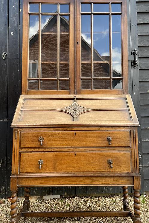Vintage 1920's Oak Bureau Bookcase