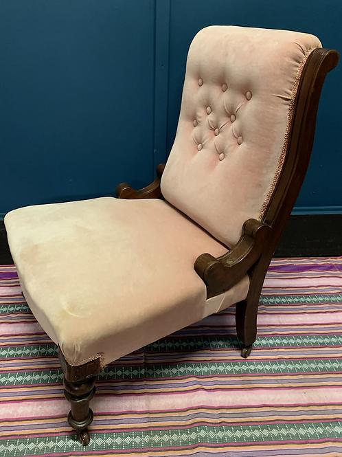 Victorian Walnut Frame Nursing Chair / Easy Chair In Pink Velvet Upholstery