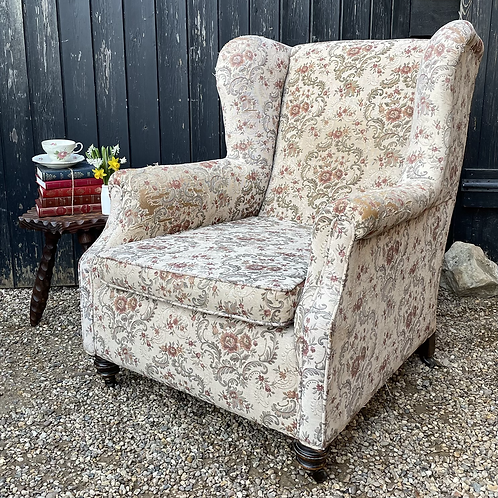 Large Vintage Wing Back Armchair For Reupholstery