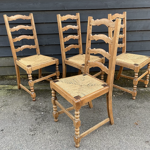 Set Of 4 Early 20th Century Light Oak Lancashire Ladder Back Dining Chairs