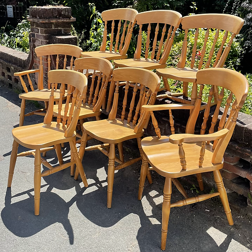 Set Of 8 Pine Farmhouse Style Kitchen Dining Chairs