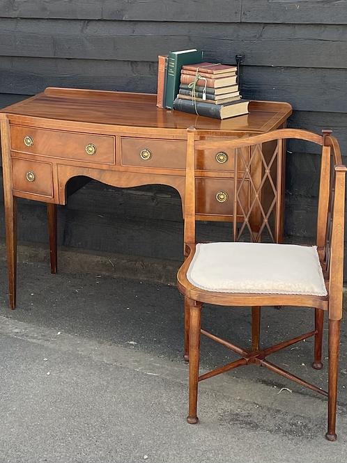 Elegant Petite Bow Fronted Sideboard / Writing Desk