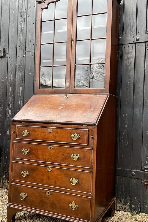 Beautiful William & Mary Style Walnut Veneer Bureau Bookcase