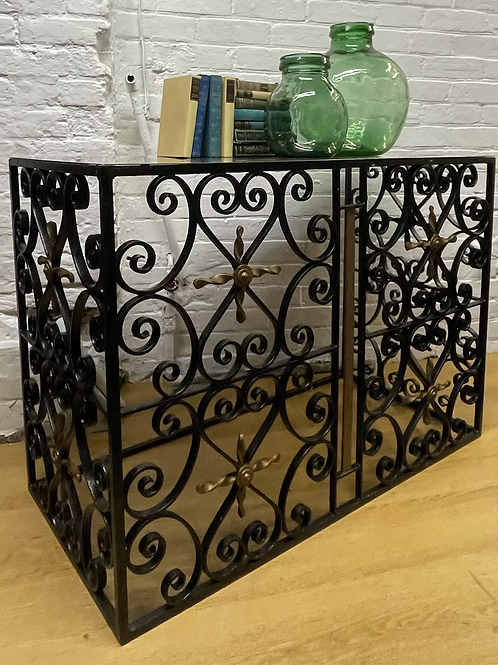 Great Looking Wrought Iron Console Hall Table With Polished Metal Top