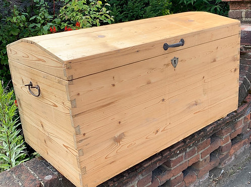 Charming Victorian Pine Dome Top Trunk