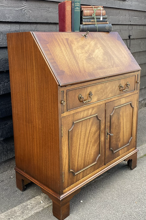 Reprodux Mahogany & Veneer Slope Front Writing Bureau Desk With Cupboard