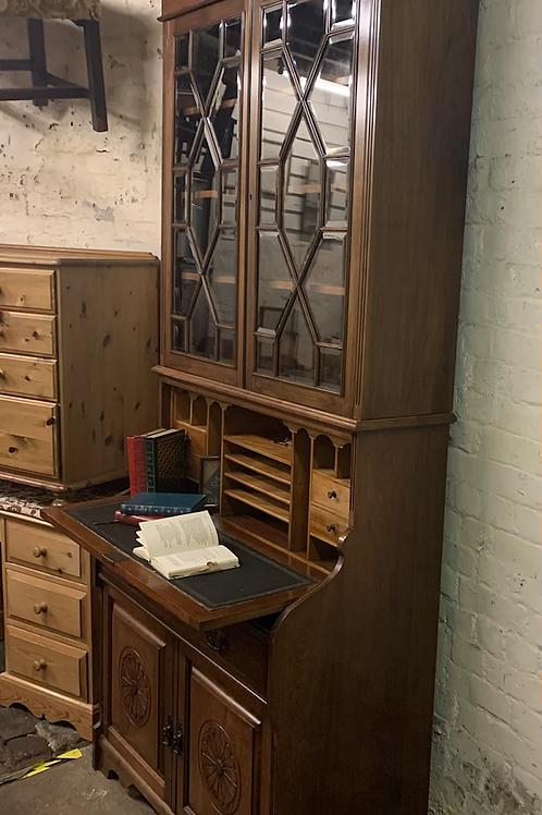 Great Quality Late Victorian Walnut Escritoire Bureau Bookcase