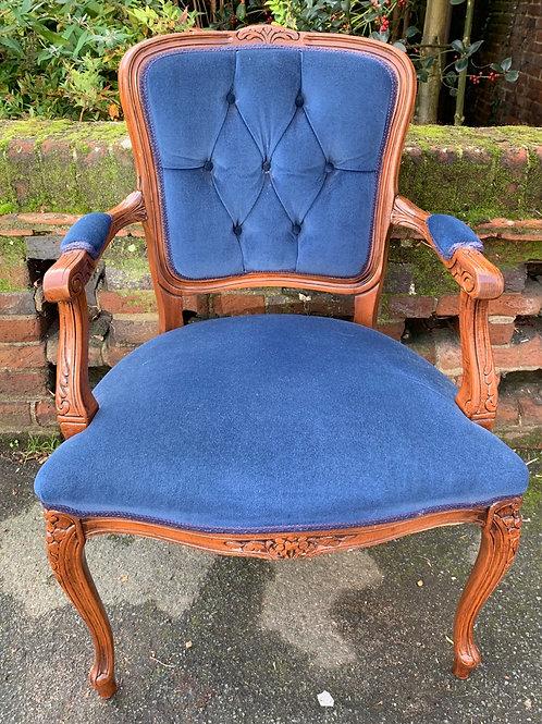 Elegant French Style Blue Velour Bedroom Armchair