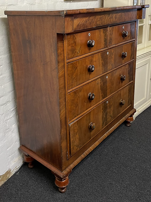 Large Handsome 19th Mahogany & Veneer Chest Of Drawers