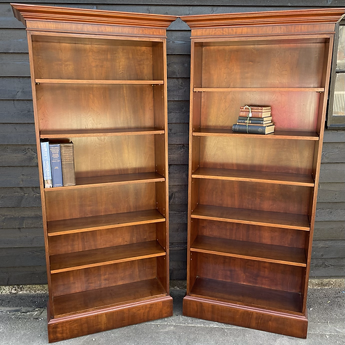 Superb Mahogany & Veneer Tall Bookcase * Two Available *