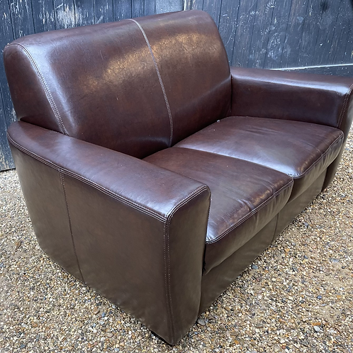 Small Contemporary Chocolate Brown Faux Leather 2 Seater Sofa Settee