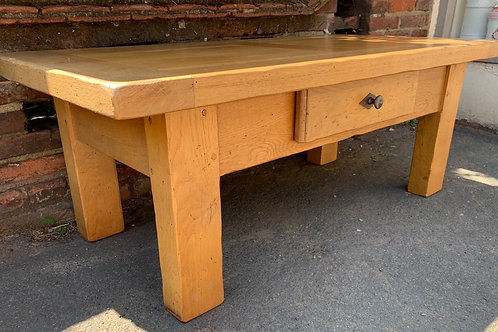 Contemporary French Oak Coffee Table With Drawer