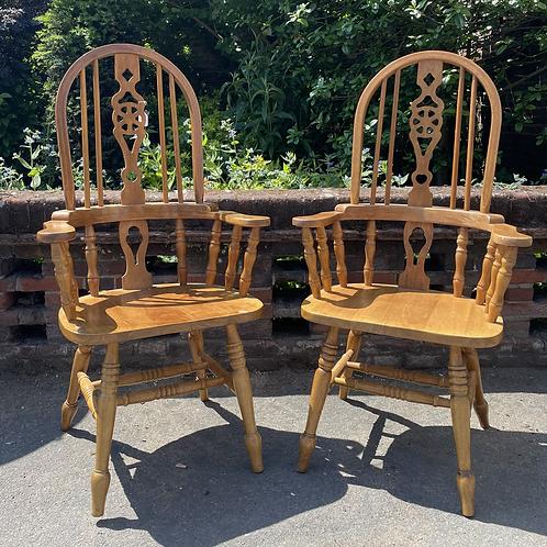Pair Of Kitchen Windsor Wheelback Carver Armchairs
