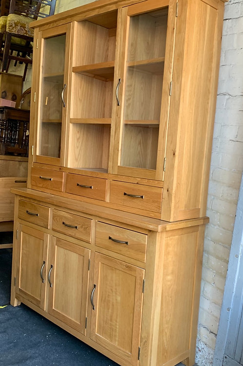 Contemporary Light Oak Two Height Display Dresser