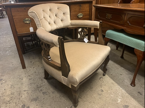 Edwardian Upholstered Tub Chair / Nursing Armchair