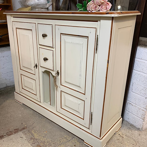 High French White Painted Pine Sideboard With Cupboards, Drawers & Racks
