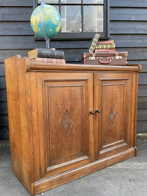 Charming Late Victorian Oak Old School Cabinet With Raised Gallery Sides