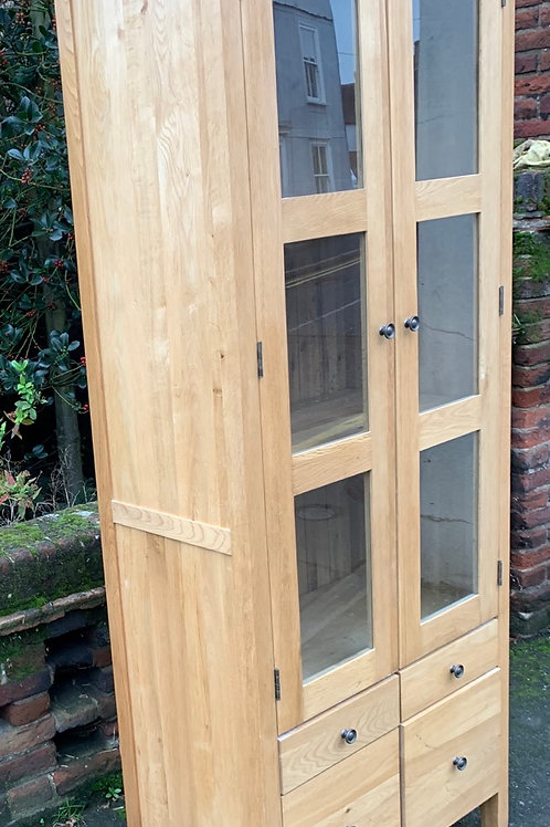 Contemporary Light Oak Glazed Bookcase Display Cabinet With Drawers