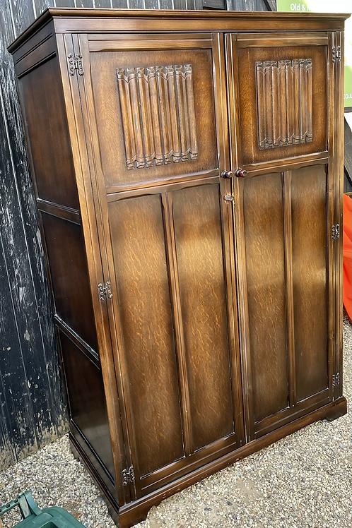 Vintage Panelled Oak & Veneer Wardrobe / Hall Cupboard
