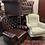 Thumbnail: Large Comfortable Brown Leather Button Back Wing Armchair