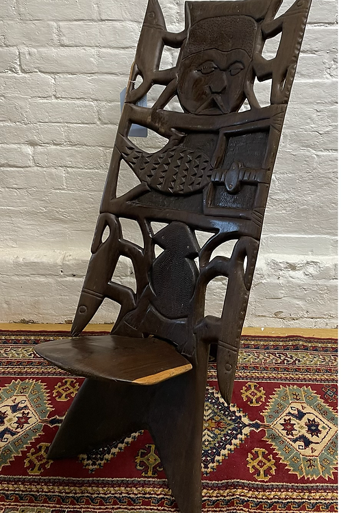 Unusual African Carved Feature Thrown Chair / Seat
