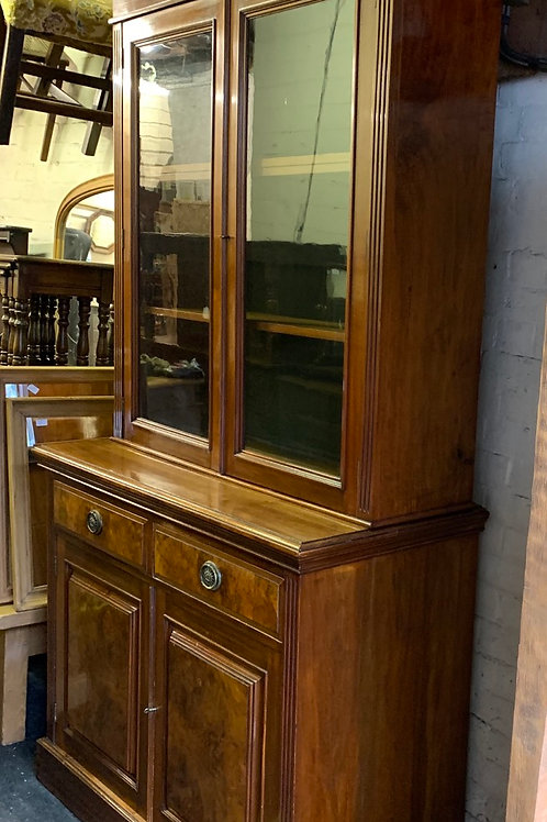 Late Victorian Walnut Bookcase Display Cabinet
