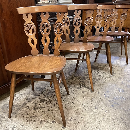 Set Of 4 Vintage Ercol 375 Bow Top Windsor Dining Chairs With Pads