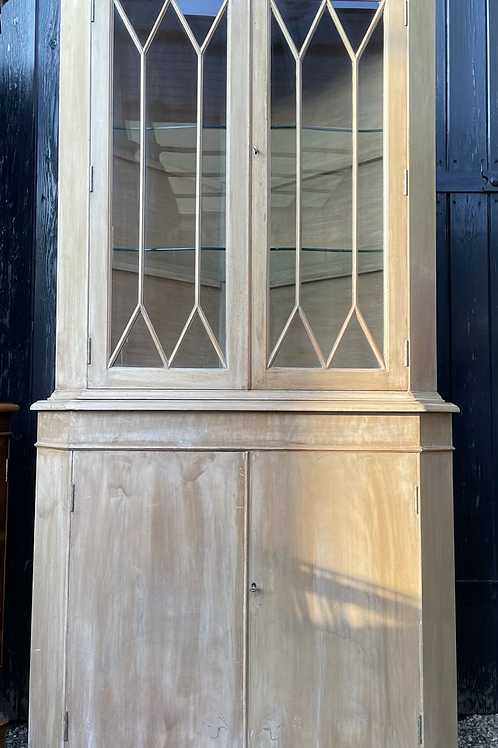 Georgian Style Limed  Display Corner Cabinet With Cupboard