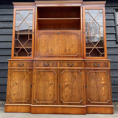 Fantastic Large Breakfront Reproduction Yew Wood Display Dresser / Show Cabinet