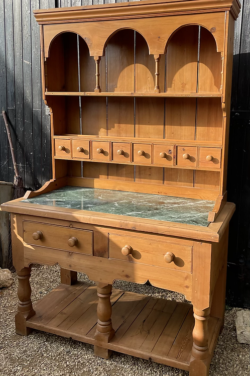 Rustic Country Kitchen Pine Display Dresser With Marble Top Island Base