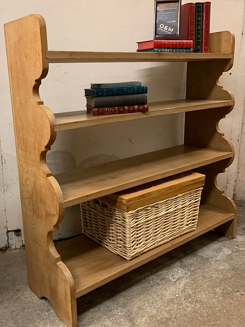 Lovely Old Pine Waterfall Open Bookcase