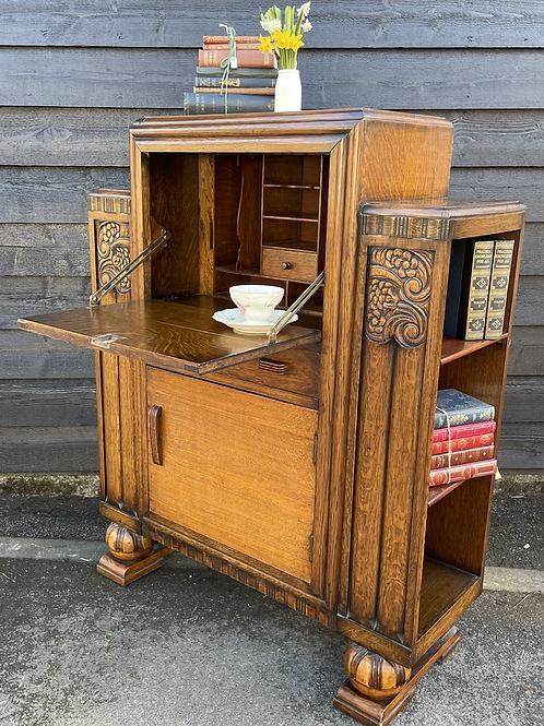 Sweet Small Vintage Oak & Veneer Bureau Bookcase With Cupboard