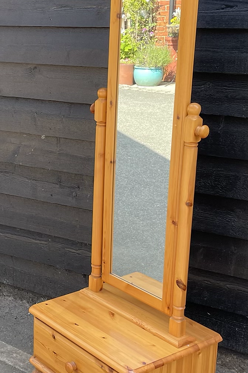 Freestanding Ducal Pine Cheval Mirror With Drawer