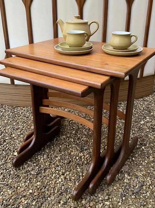 Retro 1970's Nest Of Three Teak & Veneer Occasional Tables