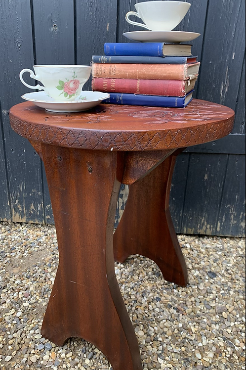 Sweet Vintage Handmade Stool / Plant Stand With Carved Roses Pattern