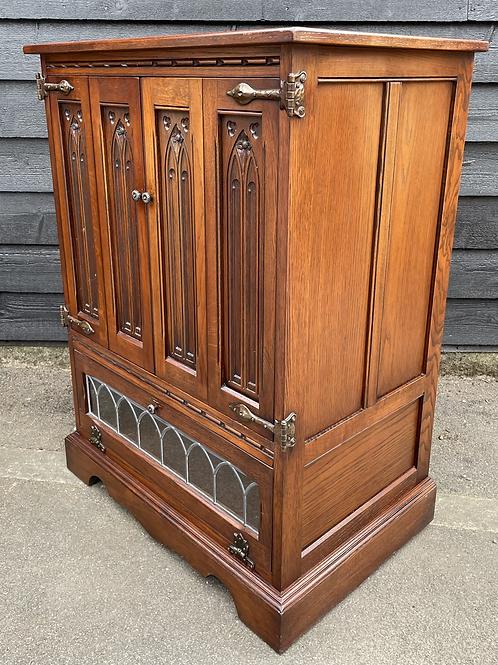Old Charm TV Cabinet With Folding Doors & Leaded Drop Down Door