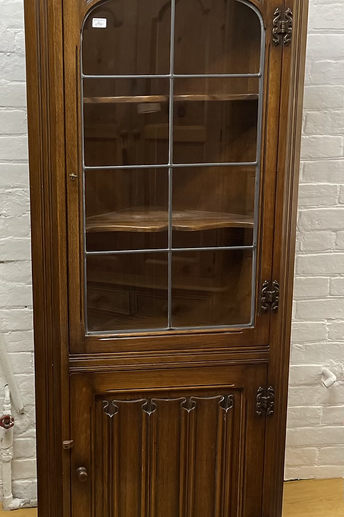 Traditional Oak Floor Standing Glass Fronted Corner Cabinet With Cupboard