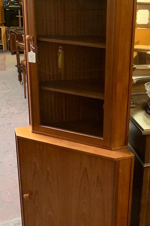 Vintage Teak & Veneer Display Corner Cabinet With Cupboard