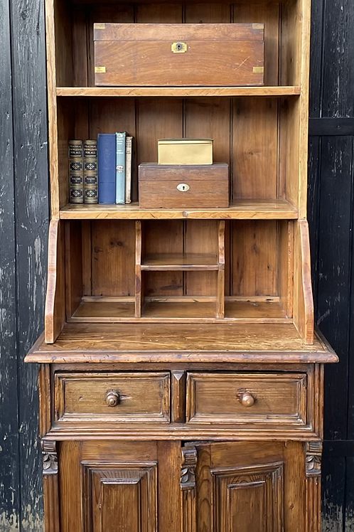 Charming Stained Pine Dresser With Display Shelves Drawers & Cupboard
