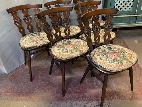 Set Of 6 Vintage 1960's 375 Bow Top Windsor Dining Chairs With Pads
