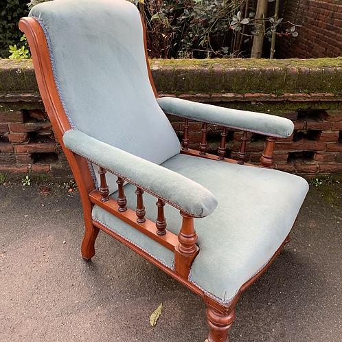 Charming Victorian Mahogany Frame Easy Chair / Fireside Armchair